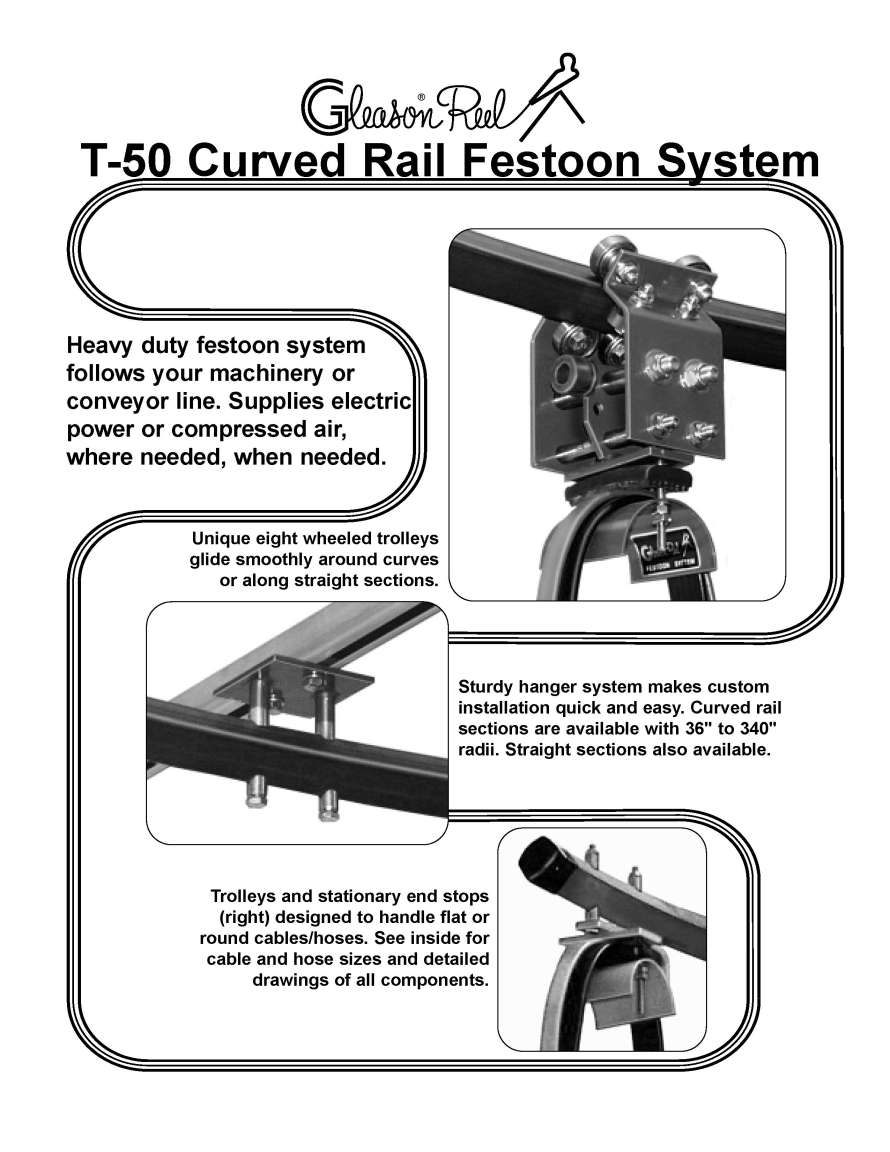 Gleason t 50 curved rail festoon system rail hanger brackets and accessories