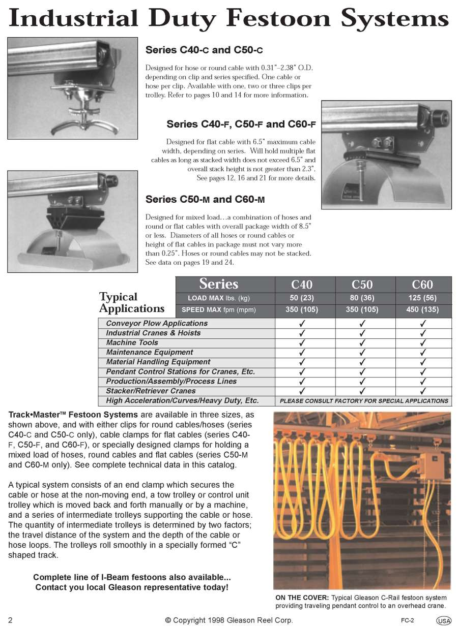Gleason Cable Track : Gleasondirect cable management engineered products